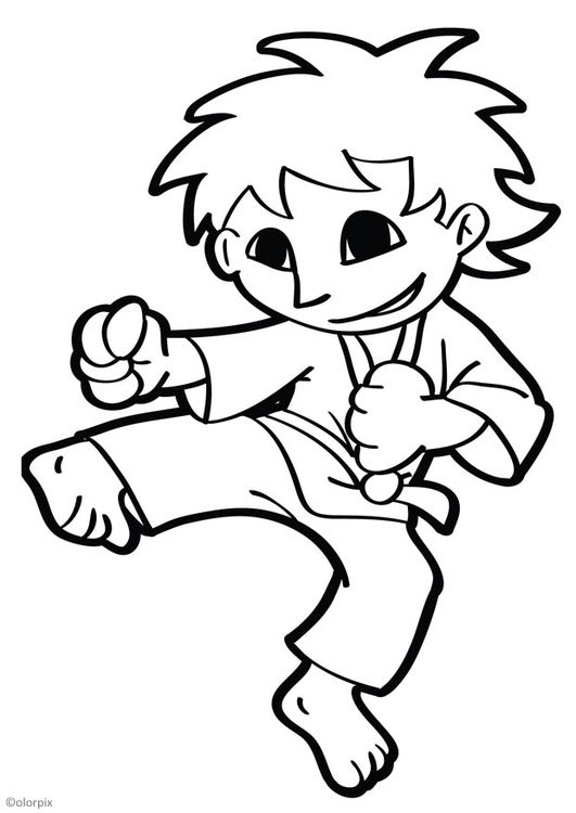 Coloring Page Karate Img 26049 Coloring Pages Cartoon Coloring Pages Zoo Coloring Pages
