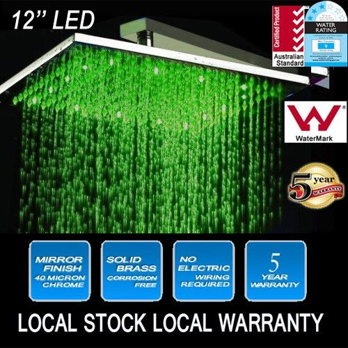 Rain Shower Head LED (RGB) Square 12in | Buy Shower Heads & Arms
