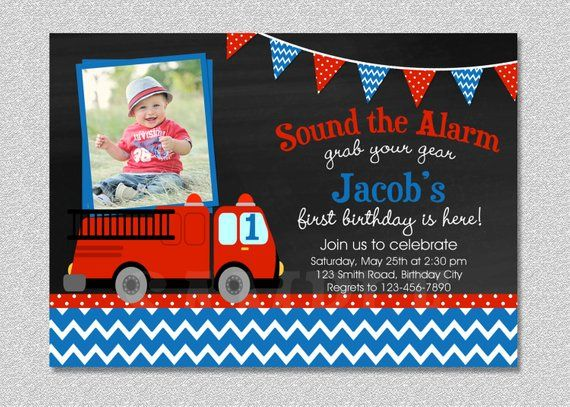 Fire Truck Fireman Birthday Invitation Firetruck Birthday Party