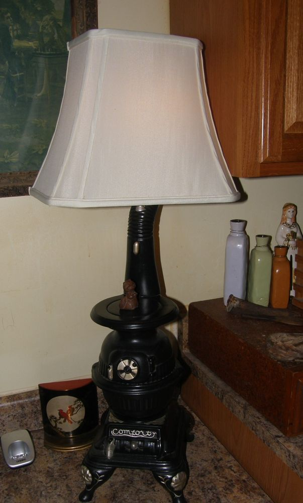 Pair Of Pot Belly And Old Comfort Stove Lamps Arnel S Signed Lila Draper Lamp Novelty Lamp Stove