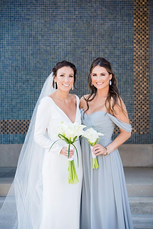 Bride and bridesmaid at The Kemper Museum in Kansas City