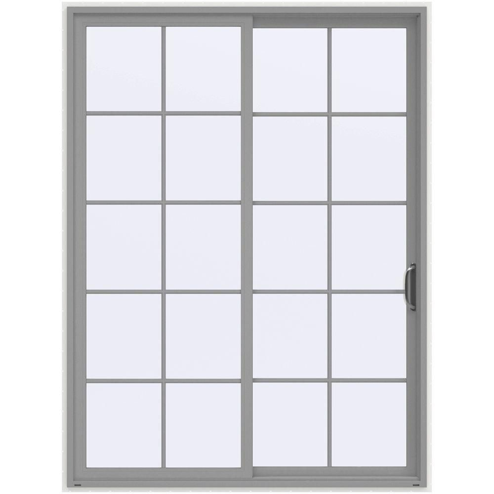 Jeld Wen 60 In X 80 In V 4500 Contemporary Black Finishield Vinyl Left Hand 10 Lite Sliding Patio Door W White Interior Thdjw155900352 Sliding Windows Window Grids Window Unit