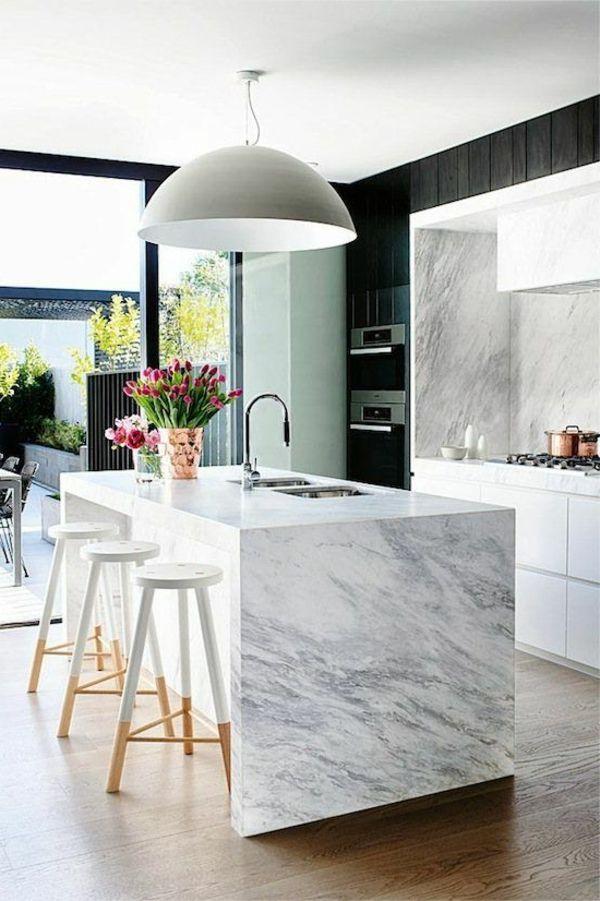 Spectacular Moderne wei e K chen wei hochglanz marmor k cheninsel