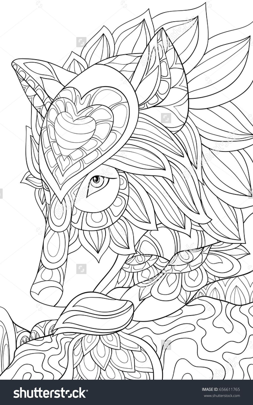 Adult coloring pagebook an wolfzen art style illustration