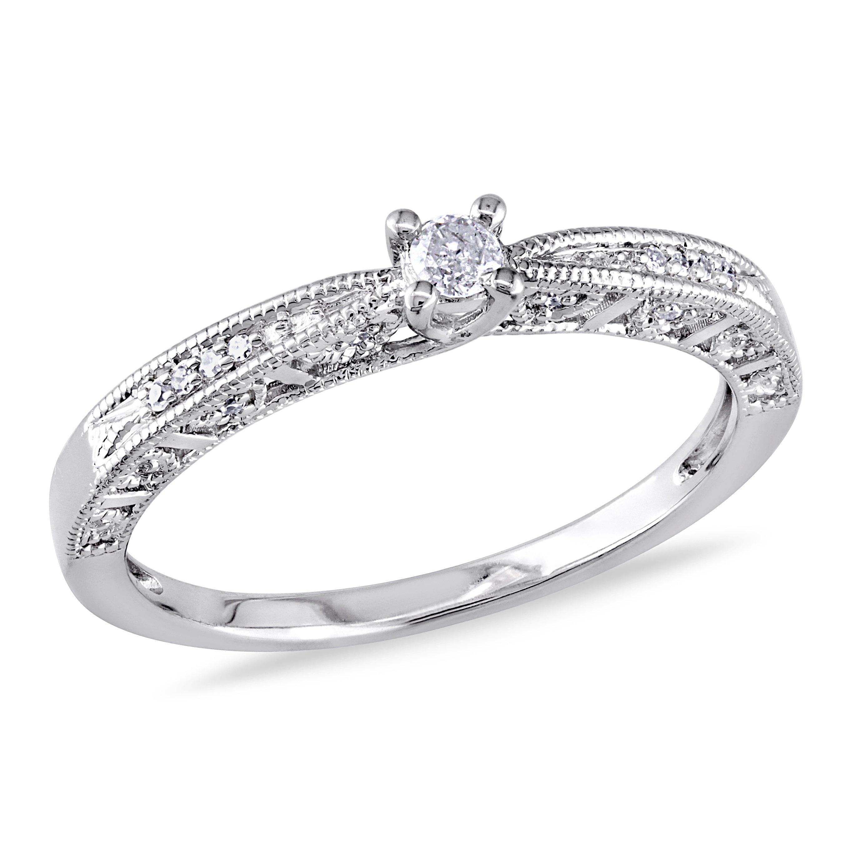 Miadora sterling silver diamond promise ring diamond promise