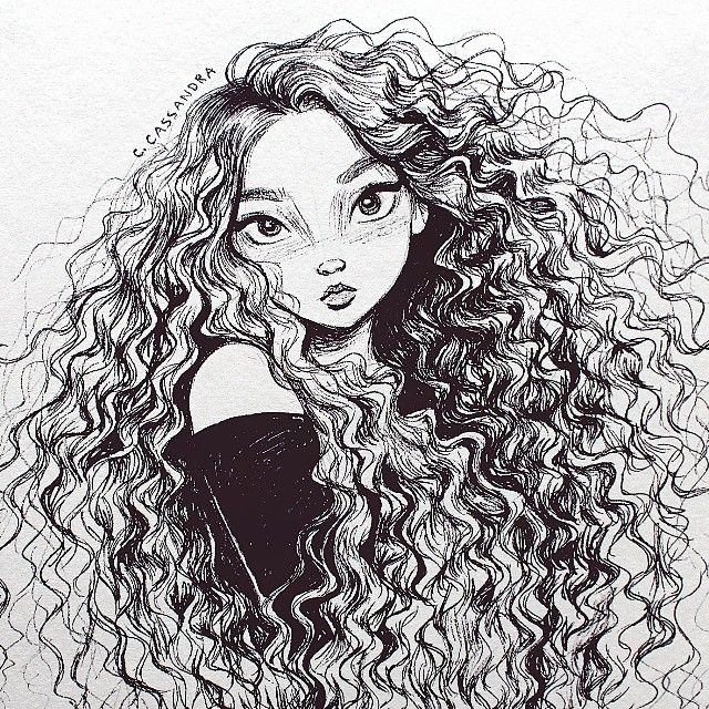 Cassandra On Instagram Curls Art Sketches Drawings Sketches