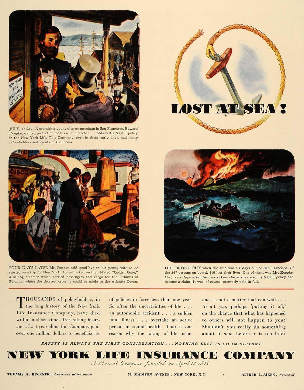 1938 Ad New York Life Insurance Lost at Sea