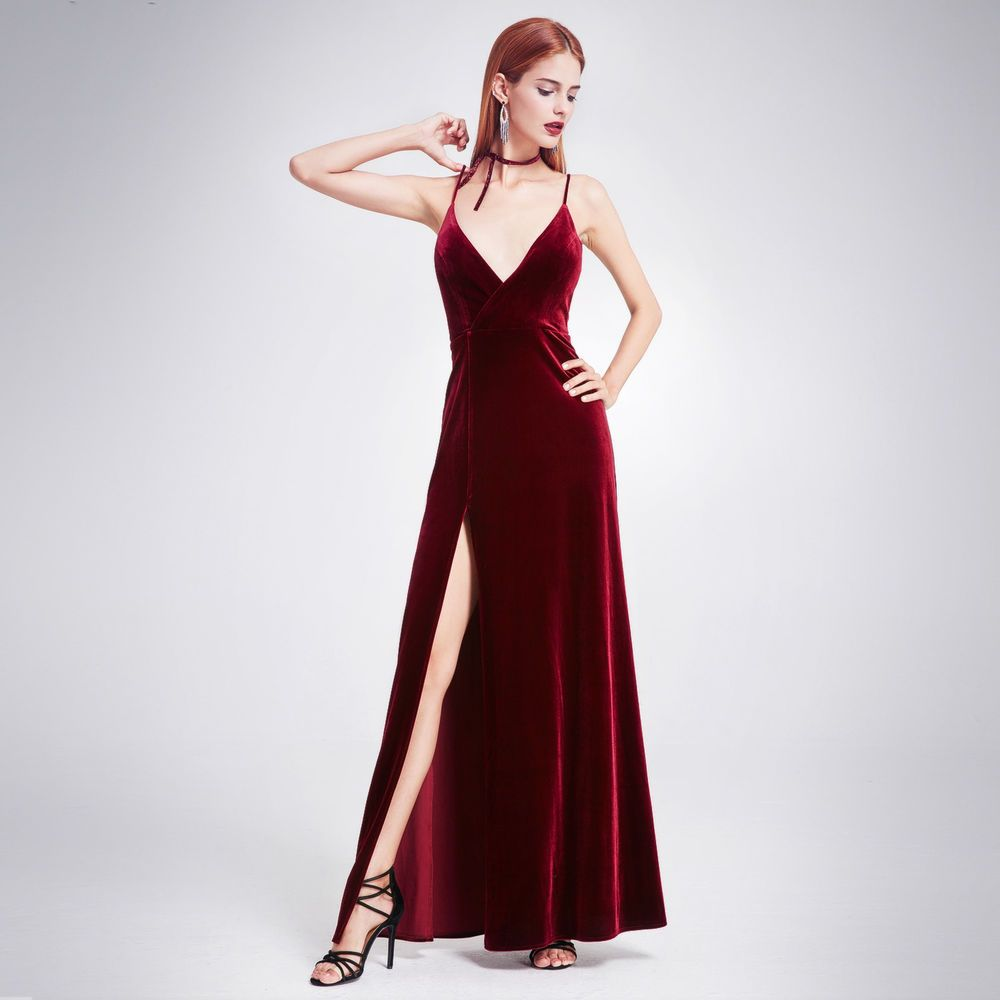 Long velvet gown slit vneck prom dress burgundy size ever
