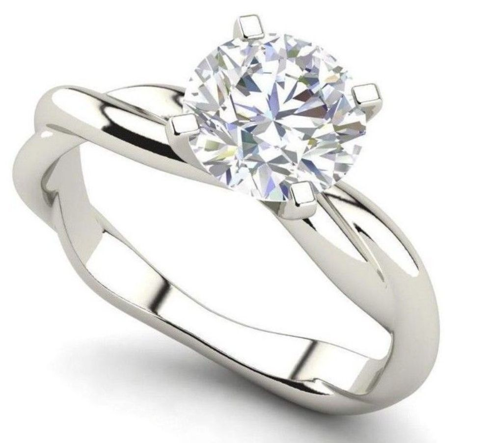 ct genuine near white moissanite solitaire engagement ring