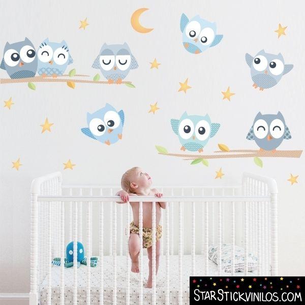 Vinilo infantil y bebé - Búhos azul | Vinilos, Infantiles y Bebé