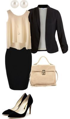 Tank Top, Pencil Skirt and Blazer. I really love this outfit. That blouse is so pretty. #businesscasualoutfitsforwomen