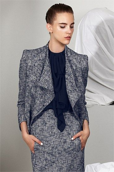 Carla Zampatti, Lapis Tweed Sculpted Jacket