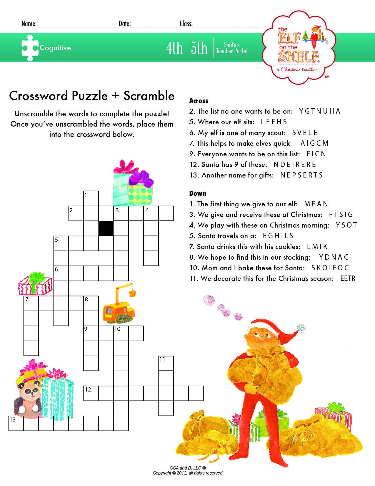 Crossword Puzzle Scramble A 4th 5th Grade Lesson Plan