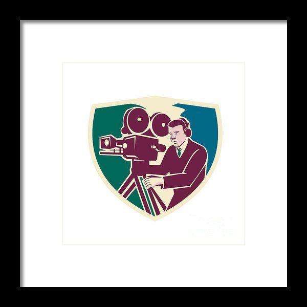 Cameraman Moviemaker Vintage Camera Shield Framed Print By Aloysius Patrimonio