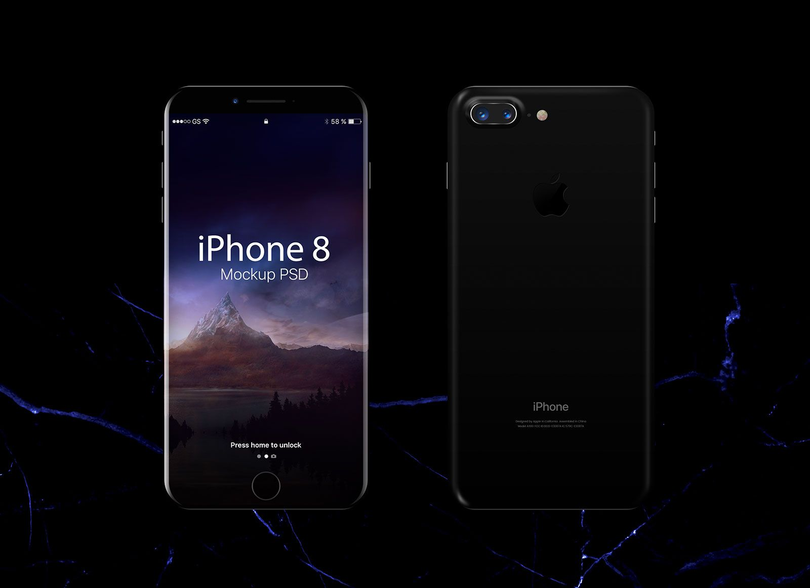 Free Jet Black Apple Iphone 8 Mockup Psd Iphone Mockup Black