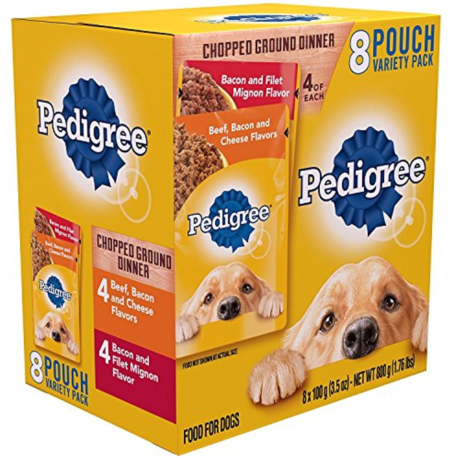Pedigree Chopped Ground Dinner 8 Pouches Variety Pack 4 Bacon And