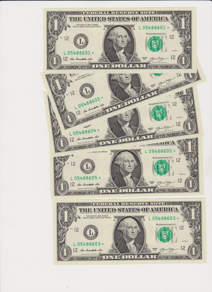 10 NEW Uncirculated $5 -Series 2013 five Dollar Bill Note Sequential USD BEP