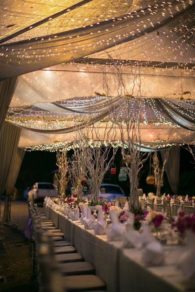 40 romantic and whimsical wedding lighting ideas casamento gorgeous wedding decoration ideas with curtains and lights wedding weddingideas country countryweddings junglespirit Gallery