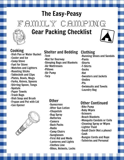 A Simple To Follow List Get You Ready For An Easy And Memorable Family Camping Trip Free Printable Included