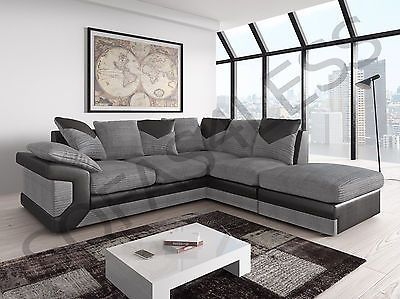 Sale New Dino Fabric Leather Corner Sofa Armchair Footstool Black Grey Brown Leather Corner Sofa Corner Sofa And Armchair Best Leather Sofa