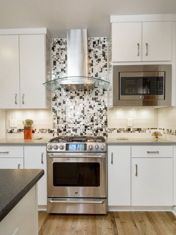 Eden mosaic tile modern cobble stainless steel with white glass emt  mix cb also silver
