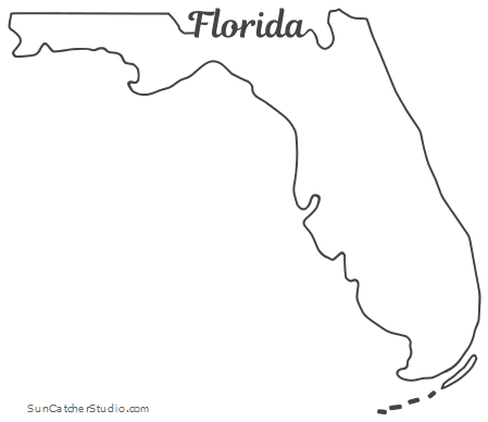 Florida - Map Outline, Printable State, Shape, Stencil ...
