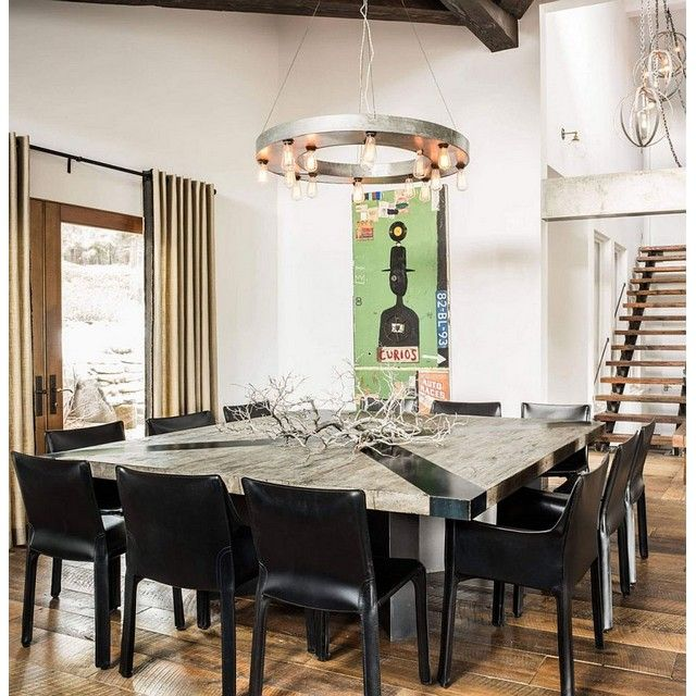 Big Square Dining Table That Fit For 12 Peoples With Rustic