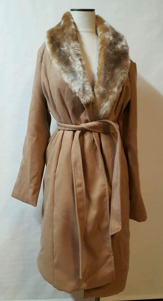 Camel Long Winter Wrap Coat Size XL Detachable Fur Collar Wrap Belt Excelled  #Excelled #BasicCoat