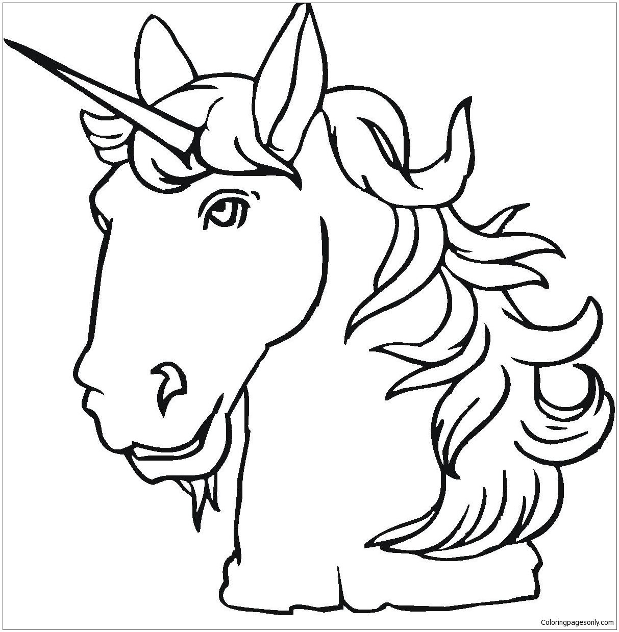 Unicorn head coloring page free coloring pages online