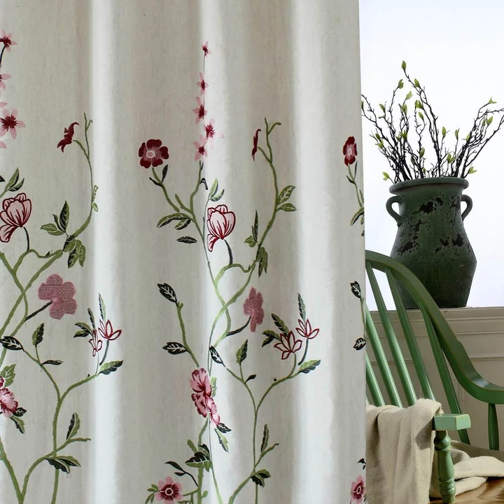 Red Flower Linen Curtains Exquisite Embroidered Drapes For Living