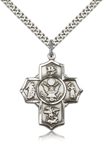 US Army 5-Way Military Sterling Silver Cross Medal Necklace by Bliss