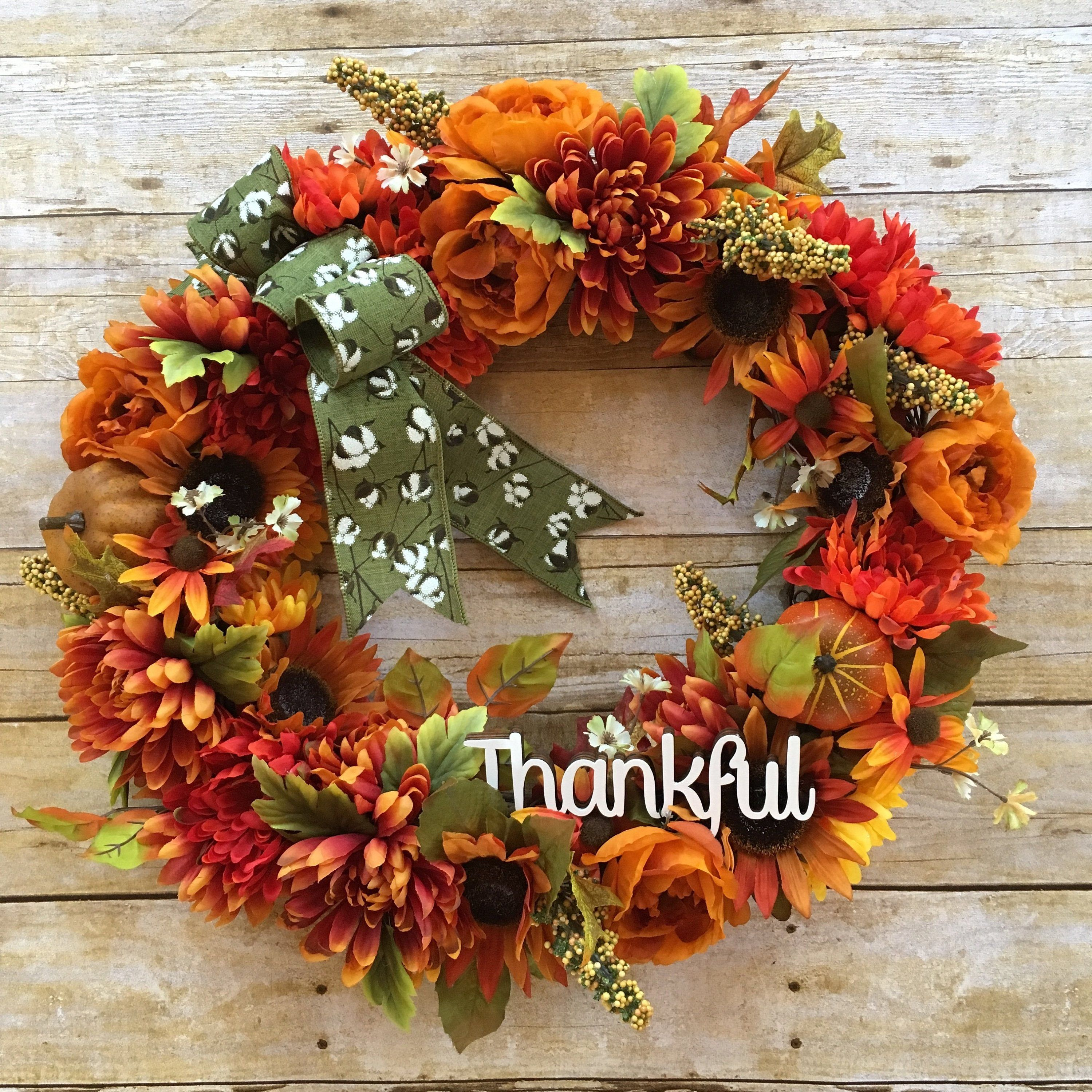 Photo of Fall Wreath, Fall Grapevine Wreath, Year Round Wreath, Front Door Wreath, Autumn Decor, Thanksgiving Decor, Gift for Her, Thankful Sign