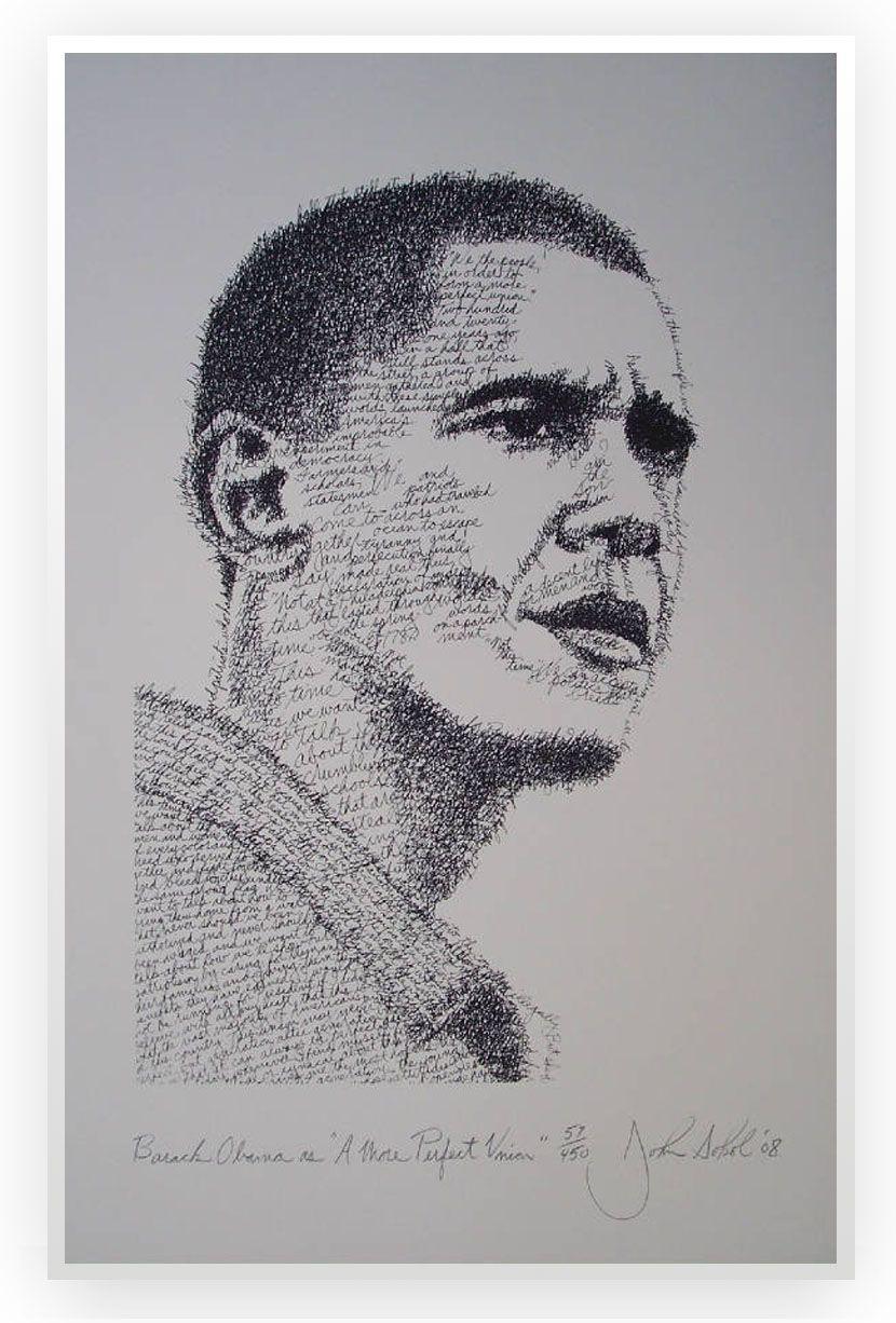 O pintor, escultor e poeta americano John Sokol utiliza palavras de grandes autores e personalidades para fazer seus retratos.    Confira: http://www.mglcom.com.br/blog/2012-10-29-alem-das-palavras