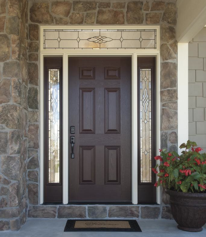 front door sidelights glass. versatile, durable fiberglass front doors with decorative glass sidelights and transom add style. visit door