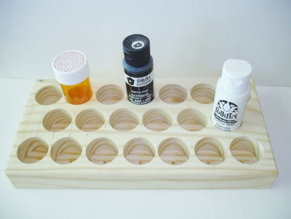 Woodworking  Tools -Supplies- Storage -17 Hole-Craft Storage Tray -Paint Bottles Storage - Wood Handmade Supply Storage