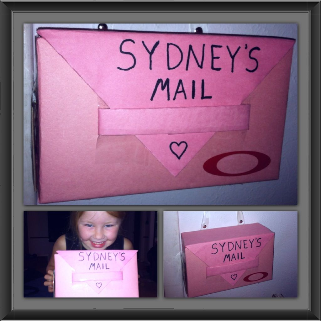 Cardboard mailbox :) let them decorate any way they choose. Hung it outside her door. Fun!!