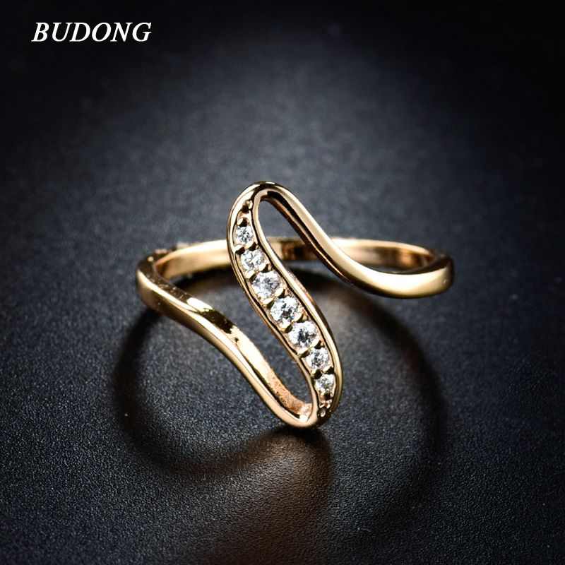 2017 Cheap Women Finger Rings Gold Plated Engagement Wedding Rings