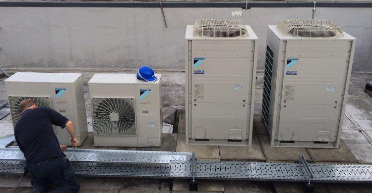 Engineer At Work Installing Daikin Vrv Air Conditioning For