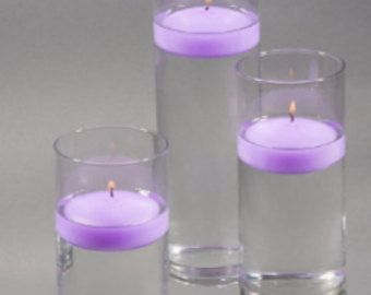 36 Purple Lavender Floating Candles And Vase Holder Clear Glass