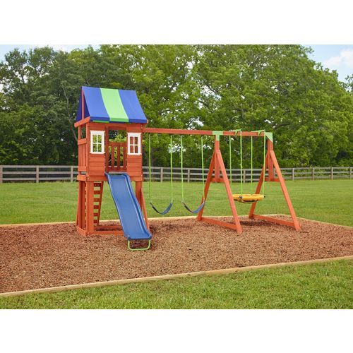 Agame West Fork Wooden Swing Set Brown Outdoor Games And Toys Swing Sets Bounce Houses At Academy Sports