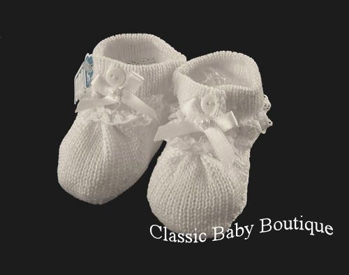 NWT Will'beth All White Knit Bow Baby Booties Shoes Girls Newborn Lace #Willbeth #CribShoes
