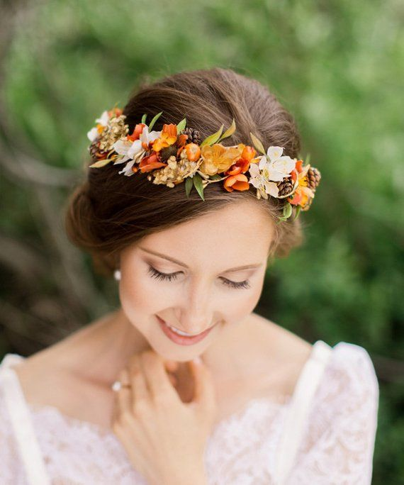 Fall Wedding Hairstyles With Flower Crown