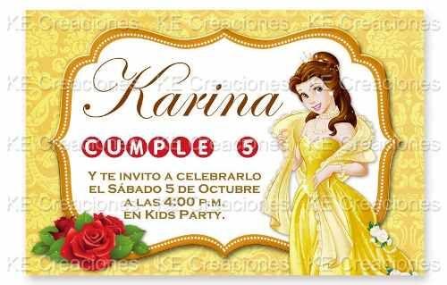 Invitaciones Kit Imprimible Bella Princesas Disney en venta en ...