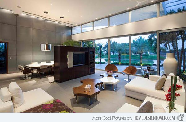 15 Ideas For TV Built In Media Wall Modern Living Rooms