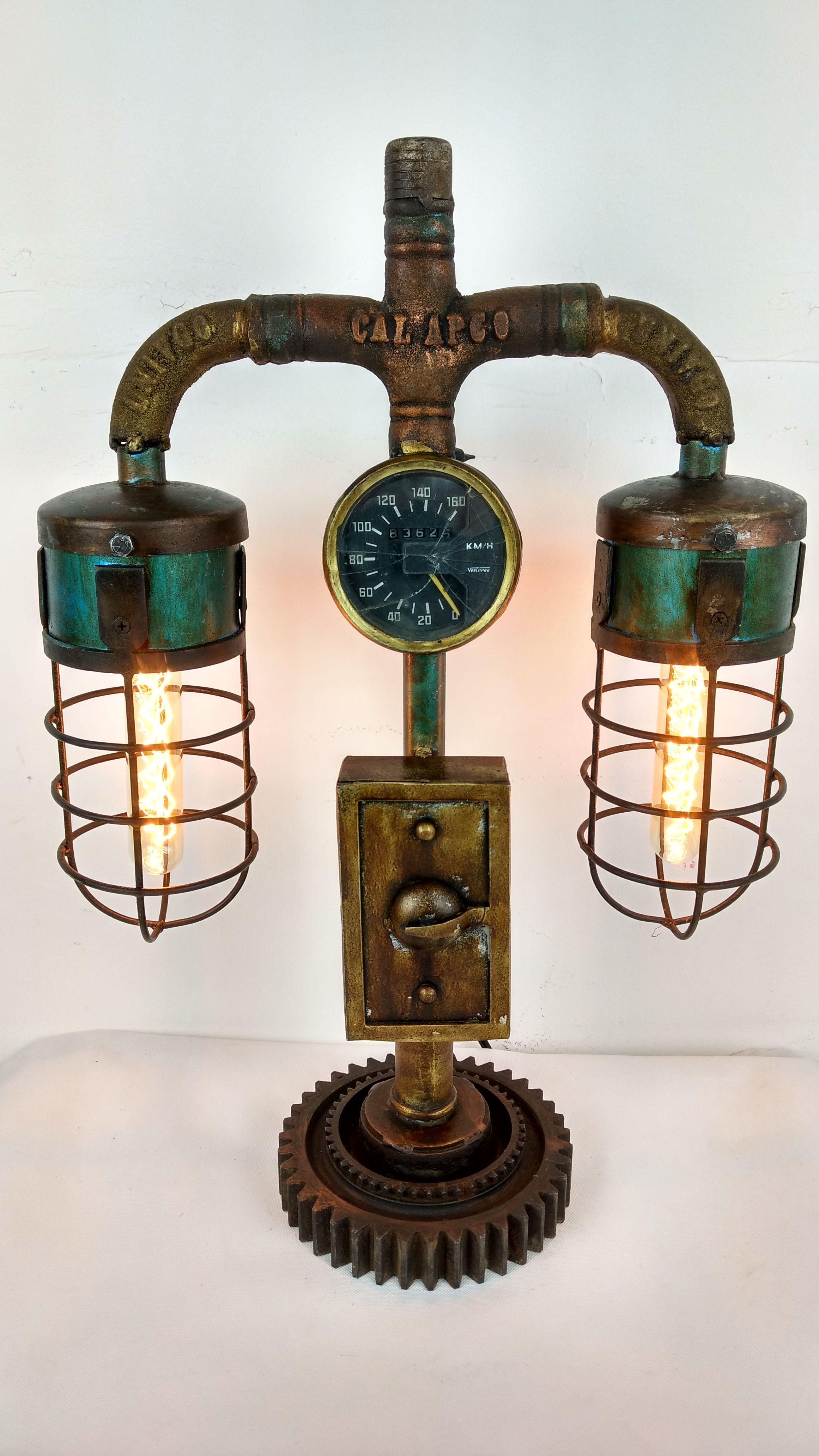 Tischlampe Vintage Lampe Tischleuchte Metall Rohr Industrial Leuchte 43x19x62 Cm Retro Look Lampe Design Lampen Coole Lampen