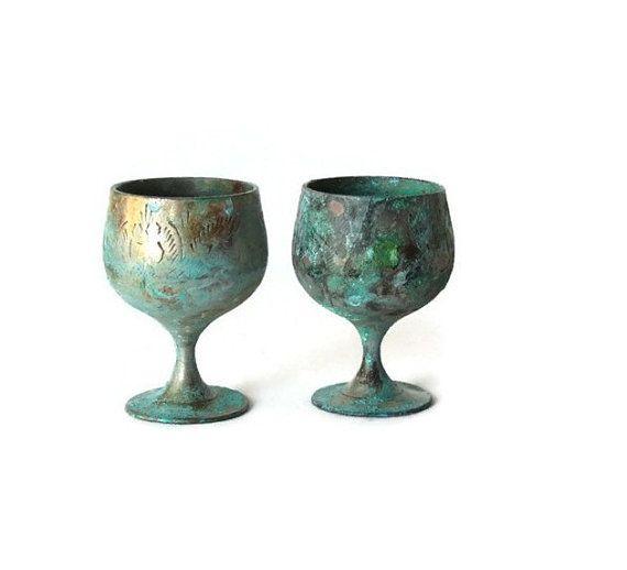Old Copper Wine Goblets Metal Wine Glasses Engraved Copper Wine