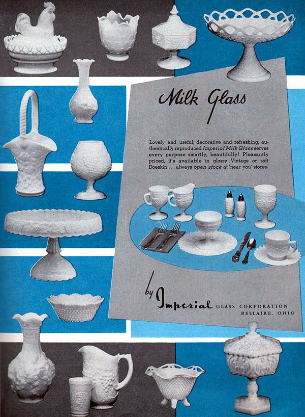 Imperial Milk Glass Basket Candy Dish Hobnail Lacy Edge Vase 1958 Magazine Ad Milk Glass White Milk Glass Milk Glass Collection
