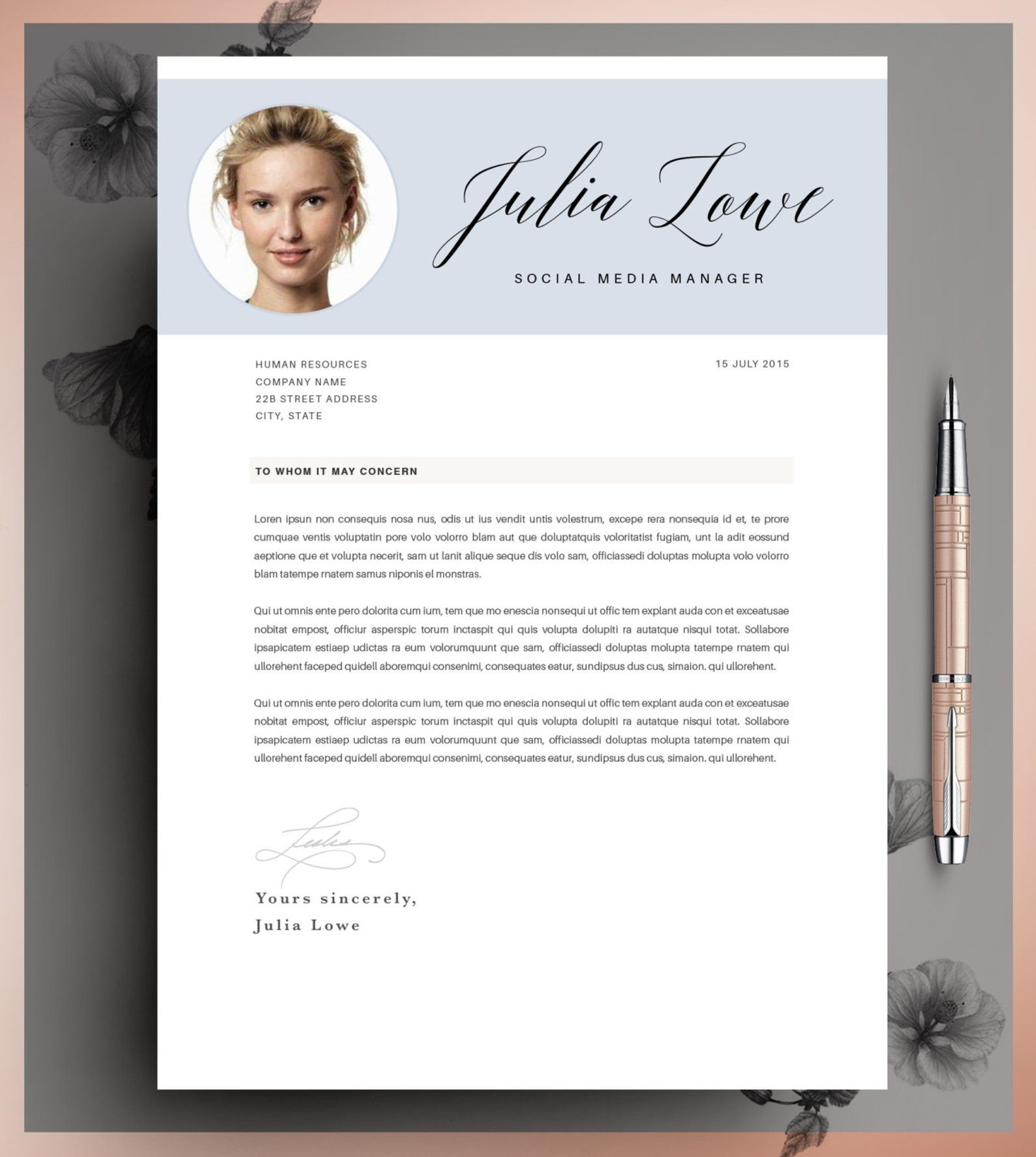 Creative Resume Template, CV Template, Instant Download