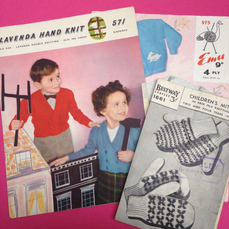 3x Vintage Knitting Patterns 1950s Mid-Century Pamphlet Children Children's Kids Cardi Mid Century Vintage Kid Retro Cardigans Kitsch Emu by TheFidorium on Etsy