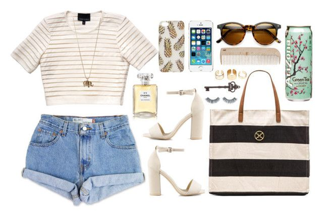 """""""Untitled #208"""" by josselyn21 ❤ liked on Polyvore featuring moda, Levi's, Cynthia Rowley, Nly Shoes, ViX, Betsey Johnson, Napoleon Perdis, Boohoo, HAY e Chanel"""